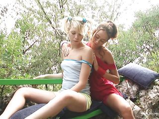 2 sexy honeys stripping outdoor