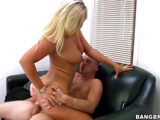 Blonde takes a rod unfathomable in her vagina, filling her womb with it as this chab rides her man. Her mouth moans and that sounds makes him hornier so this chab drills her cunt harder on that darksome couch, grabbing her and rubbing that clitoris. She takes his wang in her hand after fucking, giving her pussy a moment of pause and licks the big hard juicy rod like a bitch.