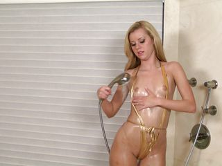 perfect a-hole golden-haired babe under the shower