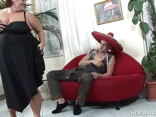 corpulent housewife tastes hunk neighbor's penis