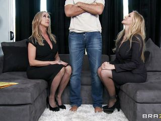 Keiran Lee is such a lucky guy! He has the chance of a lifetime. 2 mature golden-haired lady at once! Sexy and breasty milf Brandi Love and Julia Ann is here to play with Keiran's little monster! Just the touch of these to hot babes could give anyone a boner. And Keiran has their nice large boobs in the grasp. And where was his dick? Let's see for yourself!