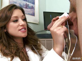 Curly hair brunette doctor with a big, sweet ass plays a porn clip while performing a test on a guy. This babe begins to blow his big cock. In what way will they begin fucking? Will this babe ride him or they'll begin with missionary?