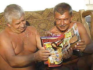 These two old farts where looking in a porn magazine when granny Heidrun caught them. As long they were all there they've began fucking and formed a threesome. The granny was undressed by the old men and they've started to grope her boobs and massage her saggy cunt. Will they fill her with semen?
