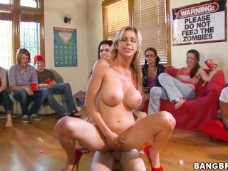 Watch Eva Angelina, Alexis Fawx and Diamond Kitty pleasing this guys with hard cocks by sucking and giving them handjob. Watch the fellow fucking blonde whore Fawx and playing with Eva's amazing big tits. And Diamond is walking around the dorm and searing more cocks to fuck!
