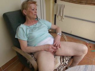 When granny Marie sits on her armchair that babe likes to relax and nothing relaxes her better then a good old fashioned pussy rub. Marie is an old bitch and that babe did this a lot of times so that babe knows how to do it. This time, that babe does it with greater amount pleasure, knowing that we are watching and that excites her a lot