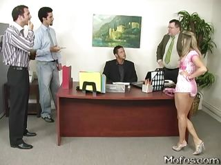 Teen Kelly Skyline is being shown around at her dad's company. She's distracting the manager from working though, so she's sent off and goes talking to some of the other workers. With that short dress and those panties on, not a lot's going to receive done.