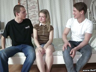 brat sells legal age teenager gf to another man, then watches!!!