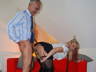 A young beauty who sits in a car is approached by Jim Slip and invited to a challenge, meaning that she has to join him in his studio and get fucked. The beauty changes into a schoolgirls outfit and gets screwed in her pussy and up her ass.