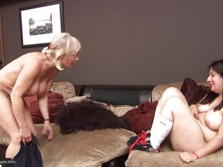 Kimberly is a chubby slut that needs to wear make up and mamma Jane is about to teach her how to properly use lipstick. After humiliating her Jane puts her butt on Kimberly's face and starts playing with her pussy. Perhaps we are going to watch some hardcore fingering and mamma love.