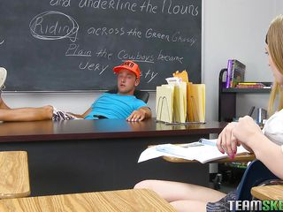 Avrill is a 21 years old babe at she is still in high school. She knows to handle her teacher and always try to keep them happy. Here this lengthy haired bitch is showing her admirable and natural melons to her teacher and then taking the full control of the situation by sucking his cock like a hungry whore.