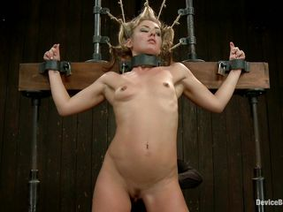 blonde connected with bondage device