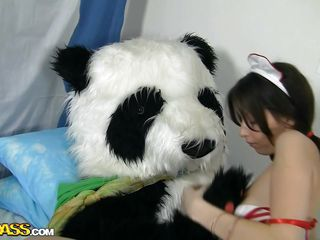 thin sexy young nurse cares of panda