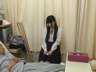 A cloudy schoolgirl visits this old scrounger at the hospital. This guy presence in the air a bad shape but this old fart still has the force to charge from her. This guy asks the schoolgirl to drag inflate his learn of previous to he dies and she merely can't refuses a dying man's wish. His hard learn of presence alive, probability he's merely tricking to acquire his cock sucked