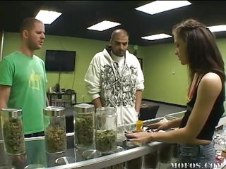 The guy in the green shirt wants to get high. Jessica tells him to go to the doc and get a card, but this guy comes back with a fake. This chab needs the weed so his gf will suck him better, but it's no-go. This babe makes him an offer: If she likes his cock, this guy gets the bud. Will this guy take the deal?
