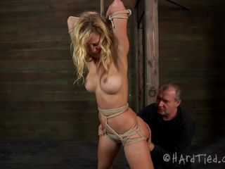 butt and boobs torture for a scared blonde