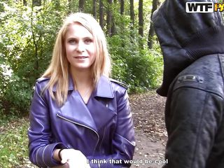 concupiscent blonde in the woods