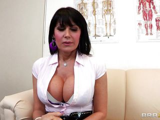 Belgium milf Eva always liked to spread her legs in front of fellows but this time the busty dark brown does it in front of her doc. She's excited by the sight of her gynecologist and takes a sit on the table to get her cunt examined. Yeah, she's receiving a very detailed exam and repays her doc with a deep throat