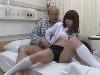 He was playing sick and ready to die when this foolish youthful asian girl got into his hands. Now it looks like the old fellow is more then alive and takes advantage of her youthful mind and body. She's bent over after getting love tunnel rubbed and the old fart fucks her hard from behind making her moan like a bitch.
