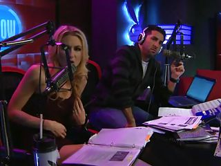 When this blond walked in to the radio station that babe would have had some idea that is going to happen there after all that babe was going on air in a reality show and that babe did not appeared to be to be surprised when that babe had to remove her clothe to show what that babe has got hidden under her raiment for interviewers.