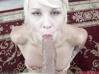 Look at this sexy whore Stevie Shae with good small boobs and hard nipples on the which are getting harder and harder slowly. This bitch is sucking her man's dick and giving him a hell of a blowjob to make him please. That babe is also taking her man's dick in her unfathomable mouth and has made him cum on her face.