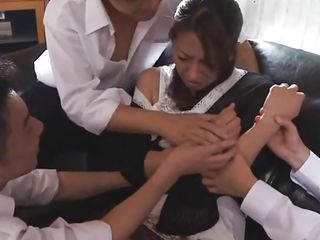 Rika is an arrogant mature woman and these guys crave to teach her a lesson. She needs to learn her position in the Japanese society and what is her place in front of men. They grab her, widen those hawt thighs and finger her pussy roughly before mouth fucking her. Maybe this and much more will make her unrepining