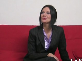 Stylish brunette lady copulates a porn casting agent