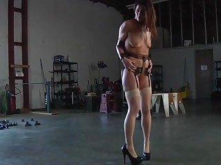 Gagged sweetheart gets her racks bounded and clamped