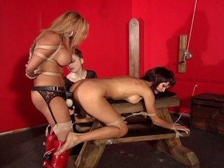 Abducted, bound and drilled with strapon lesbian s&m act