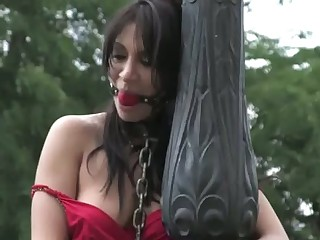 Sultry darling has to endure a kinky public punishment