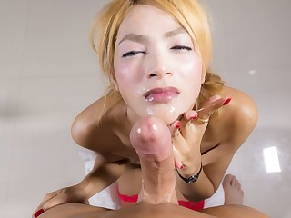 Red-hawt Thai ladyboy Ning supplicates to get her arse fucked bareback and lastly that huge-dicked dude fucked her wazoo and gave her sticky facial!