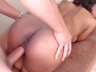 Provocative ebony honey gets the brush tender snatch drilled with a fat dick