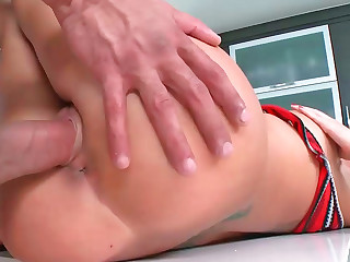 Busty emo bimbo gets her shaved stained hole drilled rough