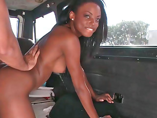 Inviting ebony doll gets shagged enduring in a van