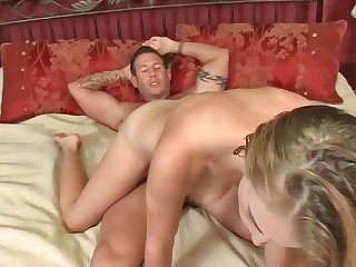 Ravishing blonde inclusive riding on her lover's yearn wiener