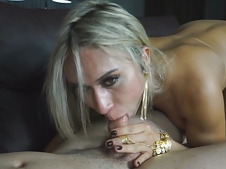 Golden-Haired Brazilian shemale Hellen Carvalho with her unstoppable desire for bareback sex has been used as filthy slut and hungry cumwhore.