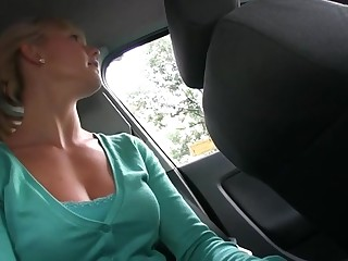 Sweet chick sucks atop dudes schlong hungrily at the public toilet