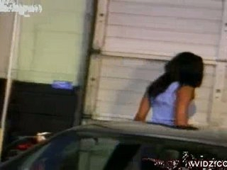 This horny, Black whore cannot resist the temptation that babe is feeling towards this buffy, Black hunk, so that babe doesn't waste any time and suck his Black dong right in front of the car.  To easily permeate this slut's cunt, they decided to get insi