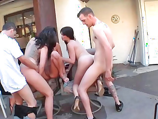 Three nasty sluts get fucked like unambiguous whores