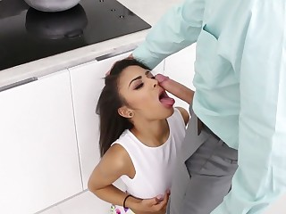 A cute and skinny lady that has a sexy ass is getting fucked expansively