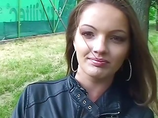 Brunette is masturbating increased by also fucking while broadly in public