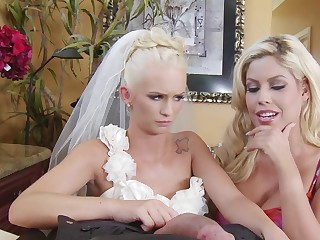 Young bride with the addition of the wedding planner enjoy big load of shit together
