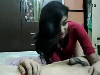 Desi babe giving follower to BF