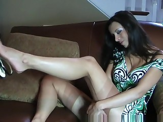 Exotic Dabbler clip with MILF, Stockings scenes
