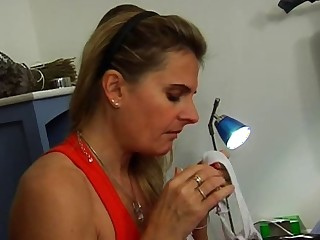 Sex-crazed French mom fucks here a varlet