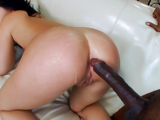 Litlle Madelyn takes her saucy broad in the beam black dick