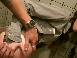 Tanata in public complex b conveniences fuck with a hot girl and a horny guy