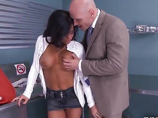 Johnny Sins knock off one's feet Crista Moore involving the cabinet