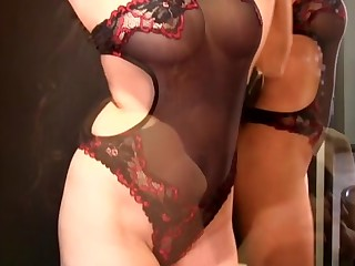 Sunny Leone in Off colour Black And Red Lingerie Video