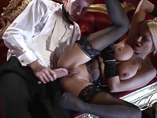 Huge cock hardcore at along to opera with a lady in lingerie