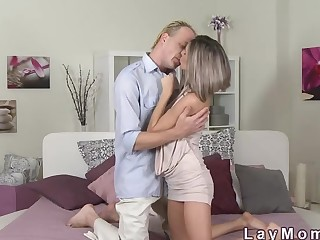 Skinny milf riding big flannel to pussy creampie